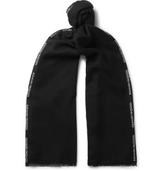Logo-trimmed Cashmere And Silk-blend Scarf - Black