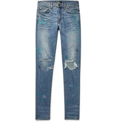 AMIRI - Skinny-Fit Distressed Paint-Splattered Stretch-Denim Jeans