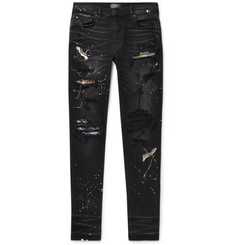 AMIRI Skinny-Fit Appliquéd Paint-Splattered Distressed Stretch-Denim Jeans