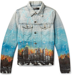 AMIRI Printed Distressed Denim Jacket