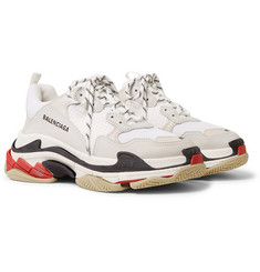 Balenciaga - Triple S Leather and Mesh Sneakers