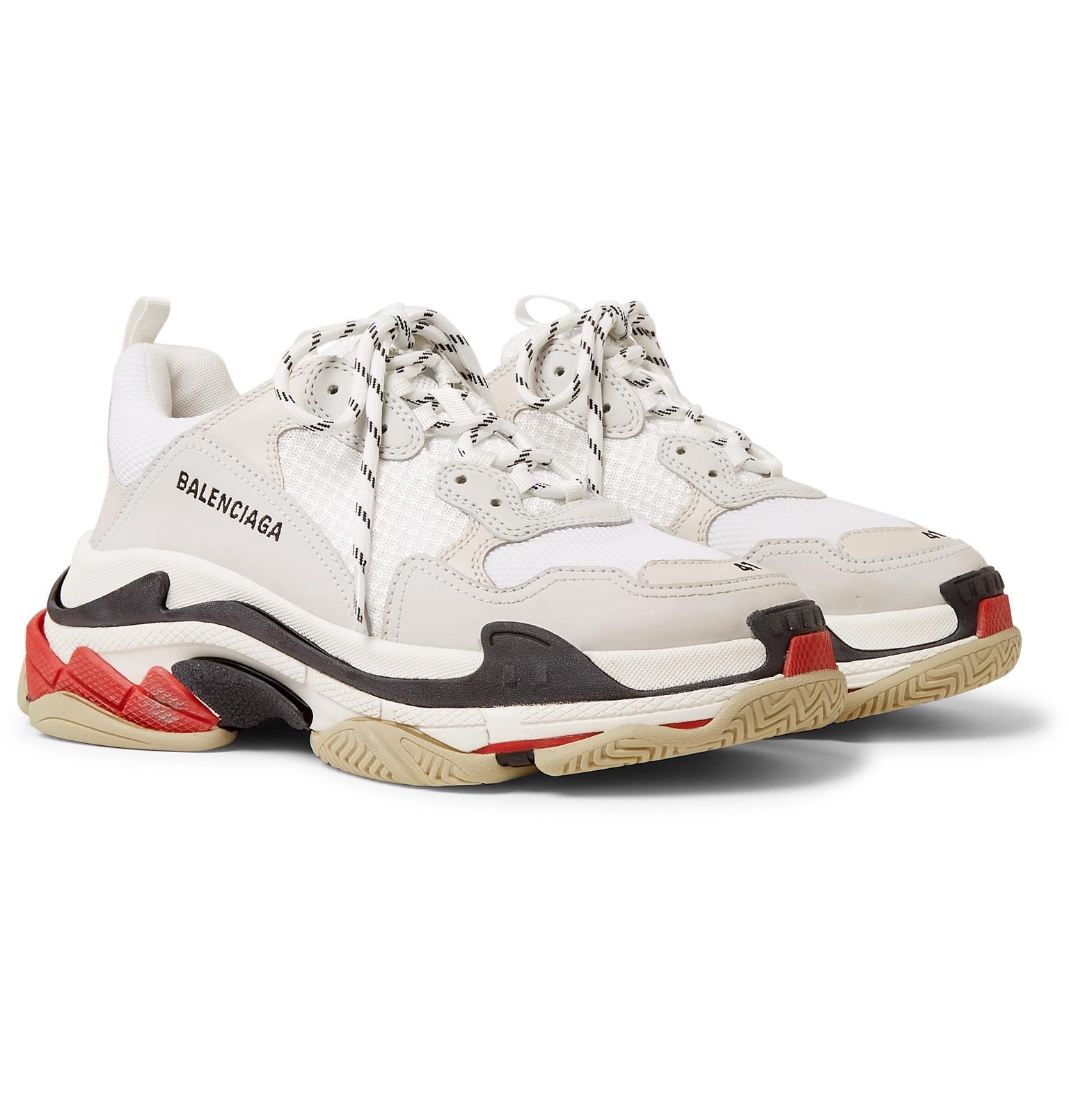 349ec964b Balenciaga - Triple S Leather and Mesh Sneakers