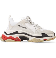 Balenciaga Triple S Leather and Mesh Sneakers