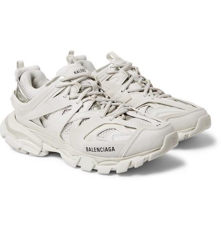 BALENCIAGA | Balenciaga - Track Leather, Mesh And Rubber Sneakers - White | Goxip