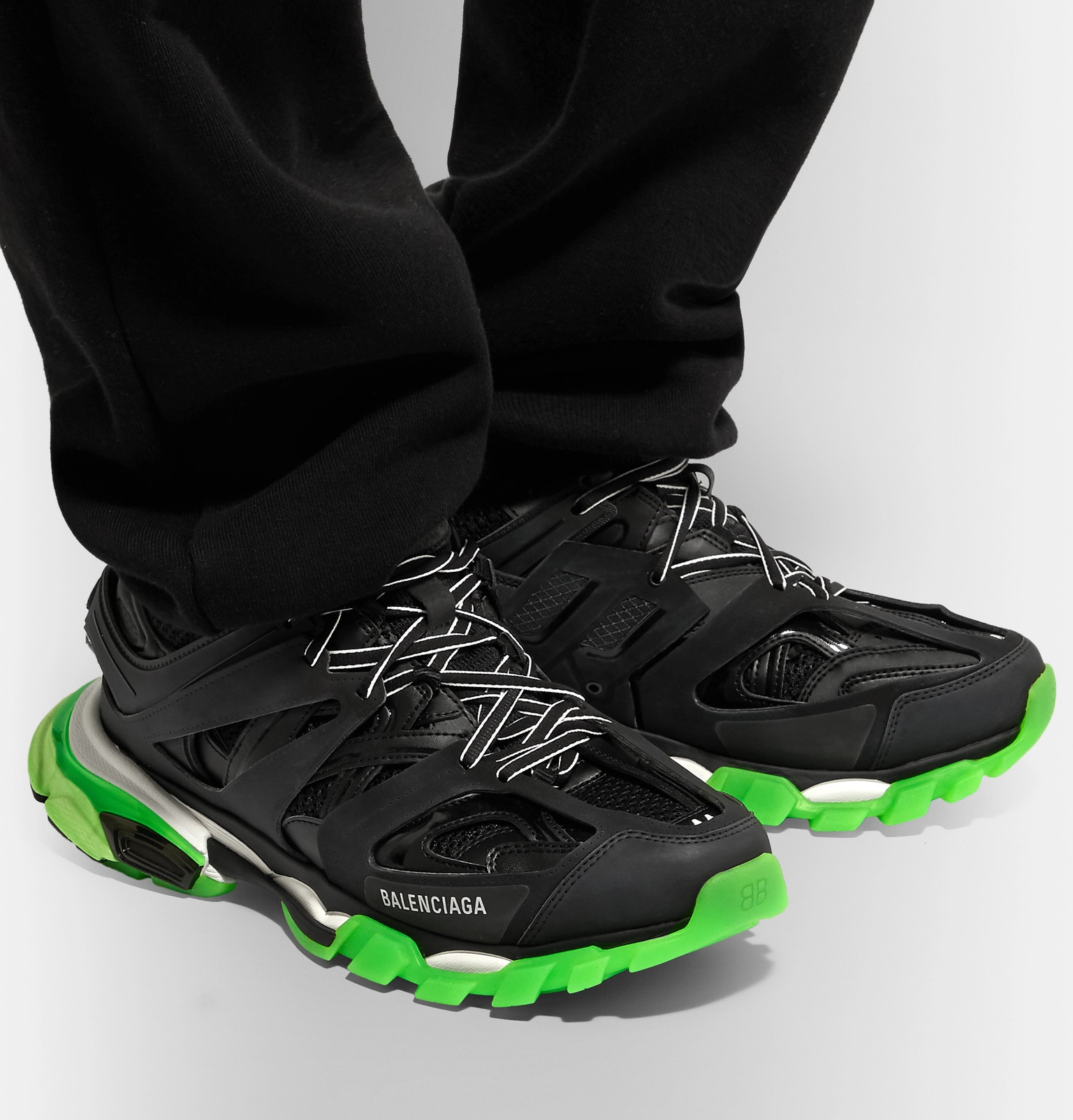 Balenciaga Rubber Track Nylon And Mesh Trainers in Lyst