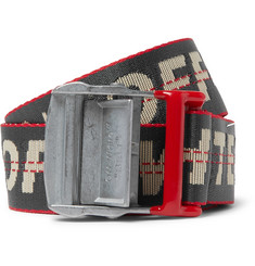 Off-White 3.5cm Dark-Grey Industrial Logo-Jacquard Webbing Belt