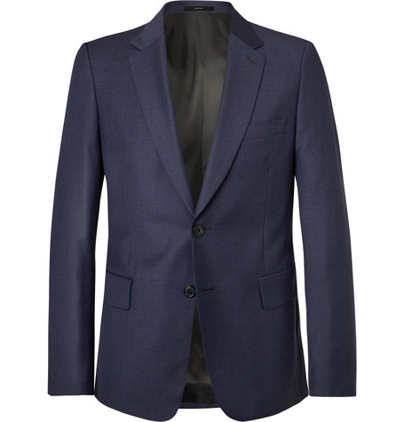 PAUL SMITH | Paul Smith - Navy Soho Slim-Fit Puppytooth Wool Suit Jacket - Navy | Goxip