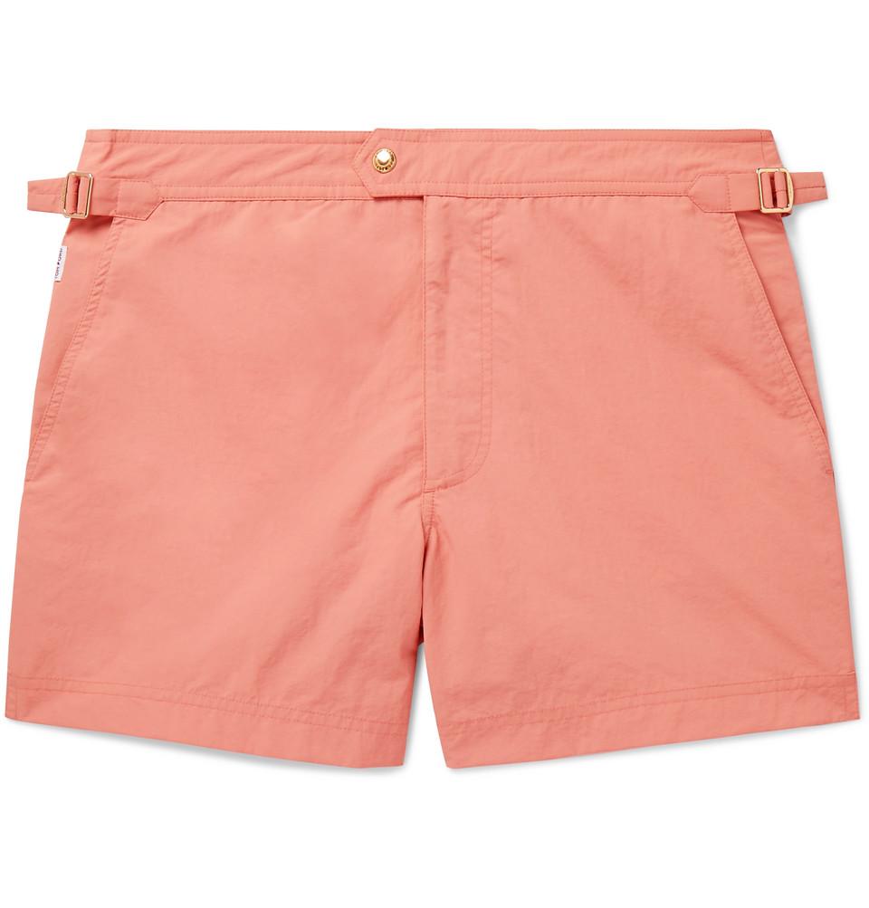 Mid-length Slim-fit Swim Shorts - Coral