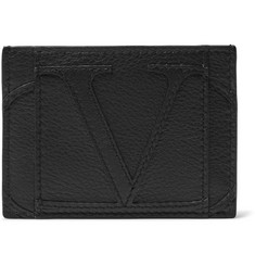 Valentino Logo-Appliquéd Full-Grain Leather Cardholder