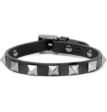 VALENTINO | Valentino - Valentino Garavani Rockstud Leather And Ruthenium Bracelet - Black | Goxip