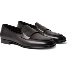 Santoni Burnished-Leather Loafers