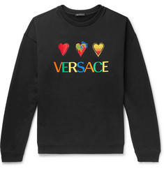 Versace Logo-Embroidered Fleece-Back Cotton-Jersey Sweatshirt