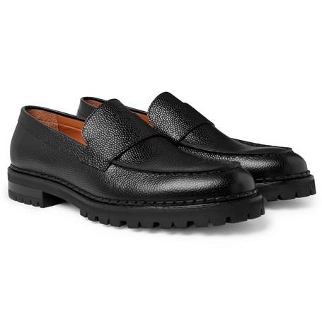 Pebble-grain Leather Loafers - Black