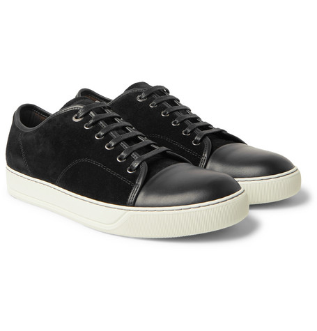 Cap-toe Suede And Leather Sneakers - Black