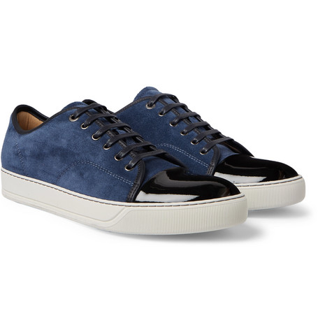 Cap-toe Suede And Patent-leather Sneakers - Blue
