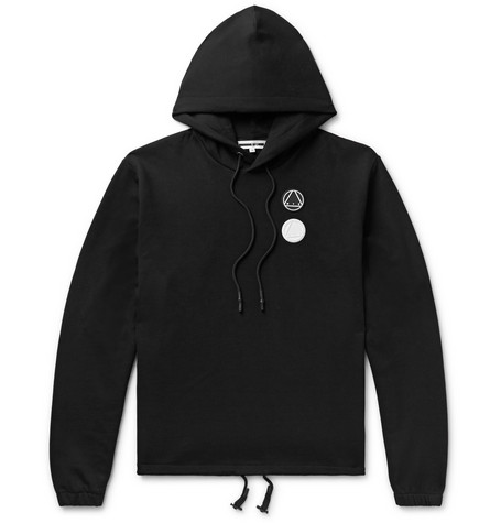 McQ Alexander McQueen – Logo-appliquéd Printed Loopback Cotton-jersey Hoodie – Black
