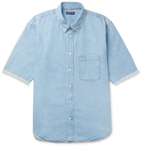 c88242f47 Balenciaga - Button-Down Collar Distressed Logo-Print Denim Shirt