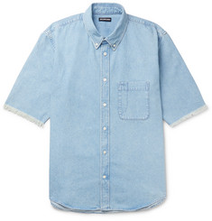 Balenciaga Button-Down Collar Distressed Logo-Print Denim Shirt