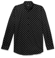 Balenciaga Button-Down Collar Logo-Jacquard Cotton-Poplin Shirt
