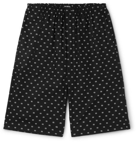 BALENCIAGA | Balenciaga - Logo-Jacquard Cotton-Poplin Shorts - Black | Goxip