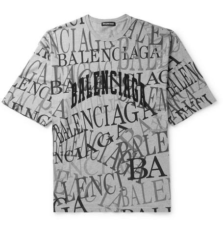 BALENCIAGA   Balenciaga - Logo-Embroidered Printed Cotton-Jersey T-Shirt - Gray   Goxip