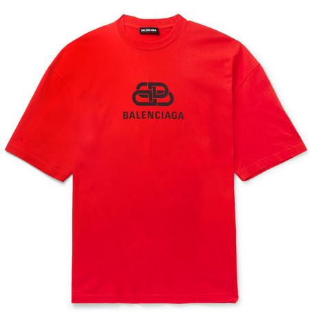 BALENCIAGA | Balenciaga - Logo-Print Cotton-Jersey T-Shirt - Red | Goxip