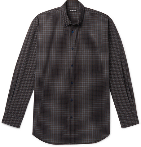 7502a6ac522d BalenciagaOversized Button-Down Collar Logo-Print Checked Cotton-Poplin  Shirt