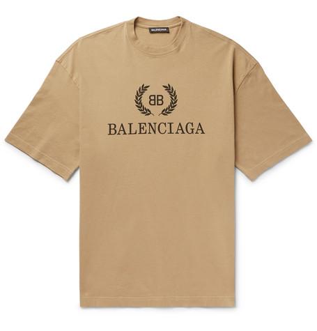 BALENCIAGA | Balenciaga - Logo-Print Cotton-Jersey T-Shirt - Beige | Goxip