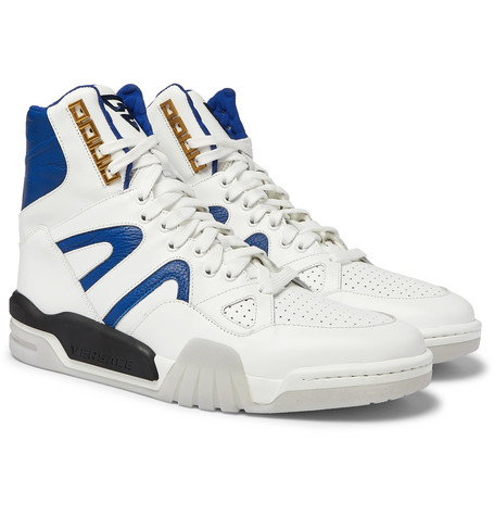 Versace Panelled Leather High-Top Sneakers
