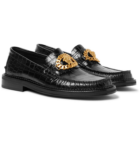 Versace – Embellished Croc-effect Leather Loafers – Black