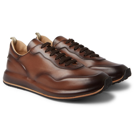 Race Lux Burnished-leather Sneakers - Dark brown