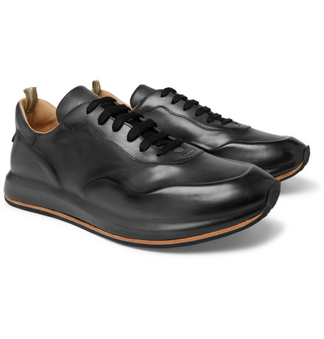 Race Lux Burnished-leather Sneakers - Dark gray