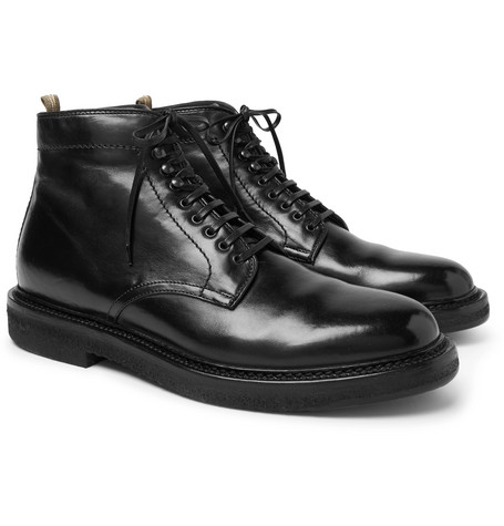 Stanford Burnished-leather Boots - Black