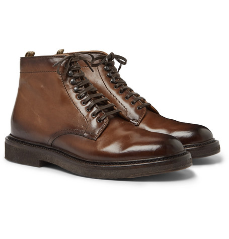Stanford Burnished-leather Boot - Brown