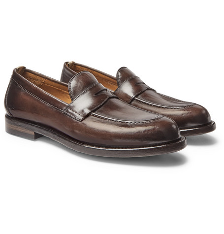 Ivy Burnished-leather Penny Loafers - Dark brown