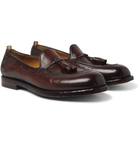 Ivy Burnished-leather Tasselled Loafers - Burgundy