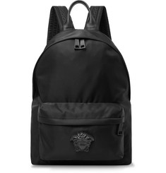 Versace Logo-Appliquéd Leather-Trimmed Shell Backpack