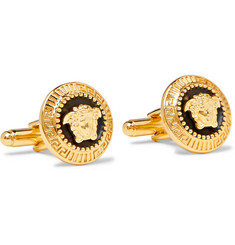 Versace - Medusa Gold-Tone and Enamel Cufflinks