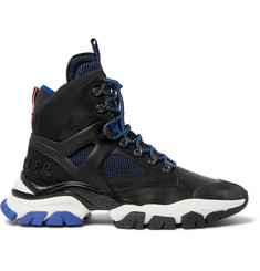 Moncler Tristan Suede, Leather, Mesh and Neoprene Hiking Boots