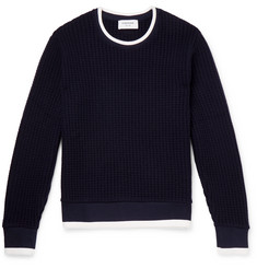 Thom Browne Contrast-Tipped Waffle-Knit Wool Sweater