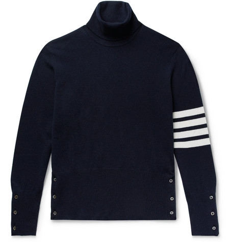 slim-fit-striped-cashmere-rollneck-sweater by thom-browne