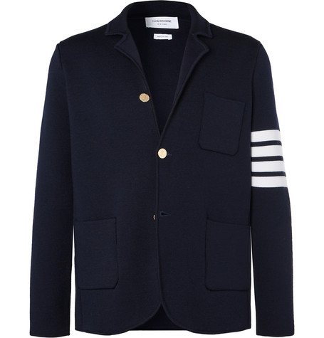 midnight-blue-unstructured-striped-wool-blazer by thom-browne