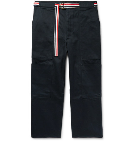 Thom Browne Belted Cotton-Twill Cargo Trousers