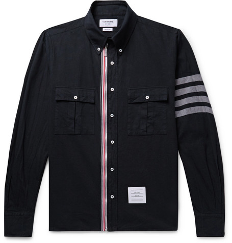 Thom Browne Button-Down Collar Grosgrain-Trimmed Cotton-Twill Zip-Up Shirt