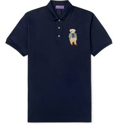 Ralph Lauren Purple Label Slim-Fit Embroidered Cotton-Piqué Polo Shirt