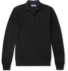 Ralph Lauren Purple Label Slim-Fit Merino Wool and Cashmere-Blend Piqué Half-Zip Sweater