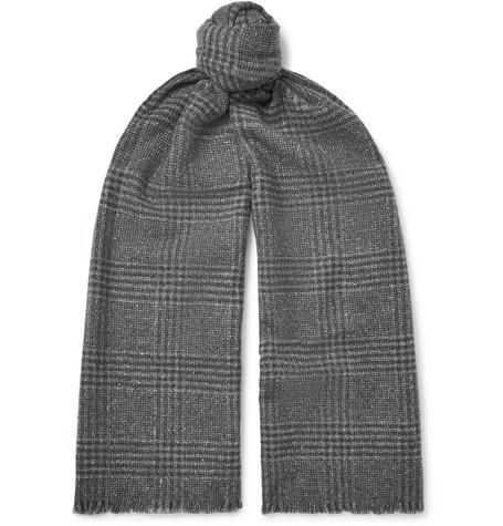 Ermenegildo Zegna – Fringed Checked Wool And Silk-blend Scarf – Gray