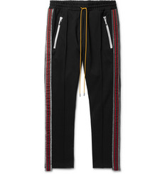 Rhude Black Traxedo Slim-Fit Tapered Webbing-Trimmed Satin-Jersey Drawstring Trousers