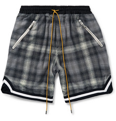 Rhude Webbing-Trimmed Checked Cotton Drawstring Shorts