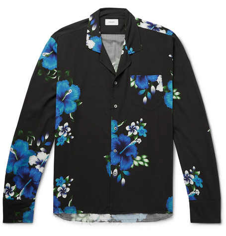 Rhude Camp-Collar Distressed Printed Voile Shirt